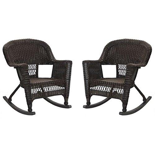 Jeco Rocker Wicker Chair in Espresso (Set of 2)