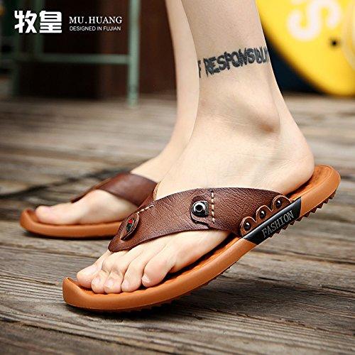 uomo uomo cuoio da uomo estate sandali pelle sandali da 2 infradito in Xing e LIN casual brown scarpe Dark giovane znfEqaBwq1