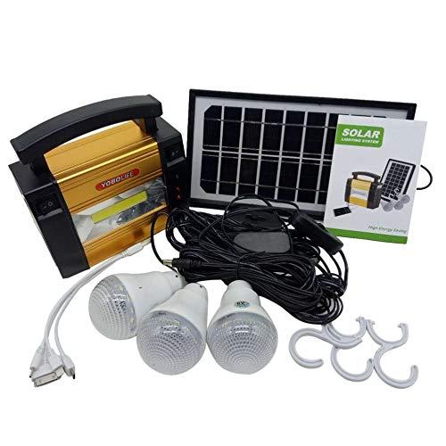Candybush Generador de energ/ía de Almacenamiento de Panel Solar port/átil de tama/ño port/átil Sistema de energ/ía para Acampar al Aire Libre en el hogar para Bombillas LED