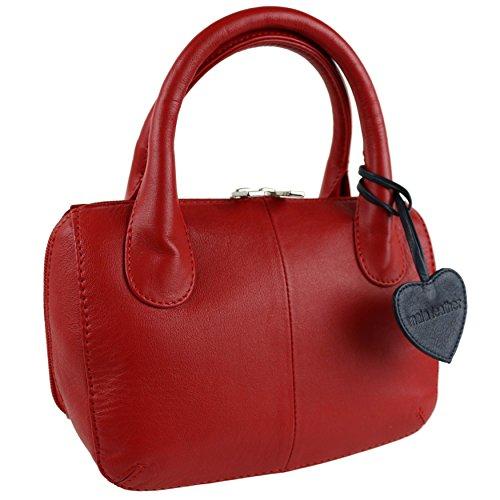 Mala Leather, Borsa a mano donna Blu Blue rosso