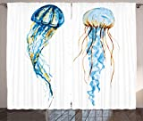 Ambesonne Nautical Decor Curtains, Cute Jellyfish Exotic Sea Ocean Creature Aquatic Animals Watercolor Raster Graphic, Living Room Bedroom Window Drapes 2 Panel Set, 108 W X 63 L inches, Blue