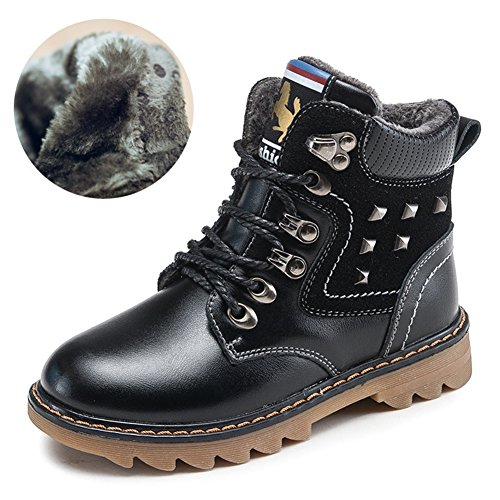 Hoxekle Boys Winter Fur Lining Combat Hiking Boots Kid Toddler Anti Slip Rivet Lace up Ankle Martin Boot