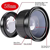Neewer 58MM 0.35X Super Fisheye Wide Angle Lens with Lens Cover for Canon Rebel T5i, T4i, T3, T3i, T2i, T1i, XTi, XT, XSi, XS, SL1, Canon EOS 1100D, 1000D, 700D, 650D, 600D, 550D, 500D, 450D, 400D, 300D, 100D DSLR Cameras