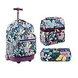 J World New York Sunrise Rolling Backpack Back To School Set w/Pencil Case & Lunch Bag (Secret Garden)