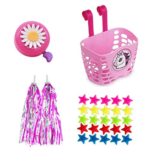 Suerico Girls Bike Decorations Kid Bicycle Accessories Kit- Bike Wheel Spoke Beads,Bike Streamers Tassel Ribbon, Bike Horn Bell,Bike Front Handlebar Basket