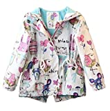 Baby World Baby Toddler Girls Cartoon Trench Coat Graffiti Hooded Zipper Outwear (2-3T, White)
