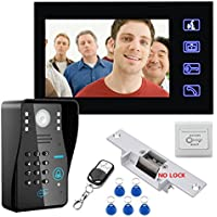 MOUNTAINONE 7 RFID Password Video Door Phone Intercom Doorbell With IR Camera 1000 TV Line With NO-Electric Strike Door Lock System