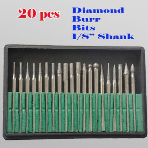 "MTP Tm 20 Pcs Diamond Burr Bits Drill Glass Gemstone Metal for Dremel Craftsman Rotary Tool 1/8"" Shanks w/Box Tip"
