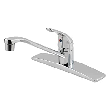 Pfister 134 1444 Pfirst Series Single Handle 3 Hole Kitchen Faucet,  Polished Chrome