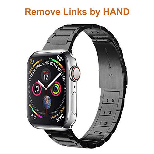 EloBeth iWatch Band 44mm 42mm Men, Stainless Steel Band Metal Clasp(Move Links by Hand) + Adapter Compatible with Apple Watch Series 4/3/2/1 (Black 44/42mm)