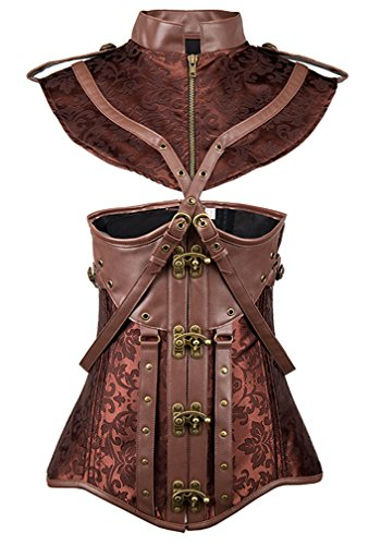 Charmian Women's Steampunk Gothic Retro Faux Leather Jacquard Underbust Corset with Shrug Brown XXX-Large -