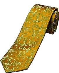 Zarrano Skinny Tie 100% Silk Woven Orange Paisley Tie