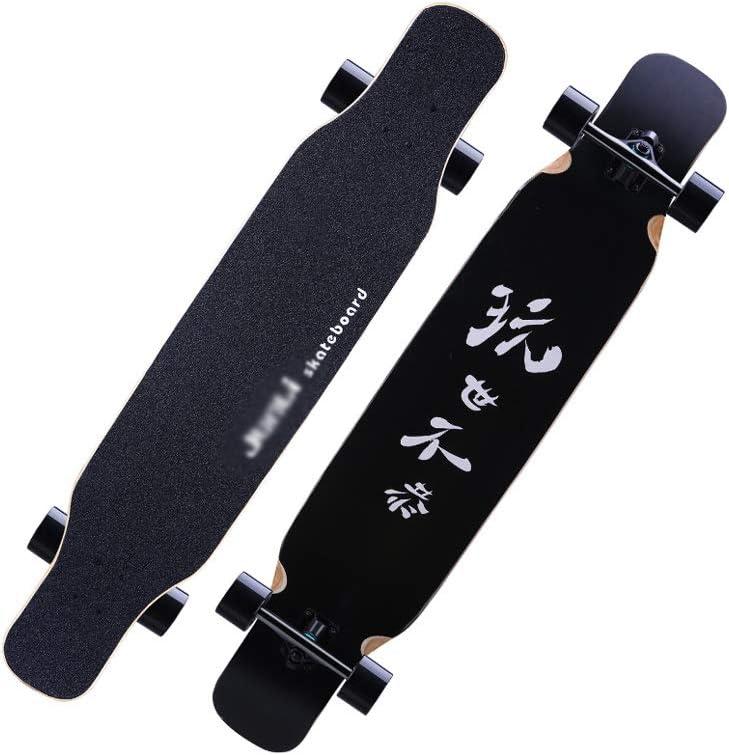 LIUFS-スケートボード ロングボードスケートボード男の子女の子大人初心者青少年ブラシストリート8層のもみじ四輪ハイウェイダブルダンスボード Single-sided printing