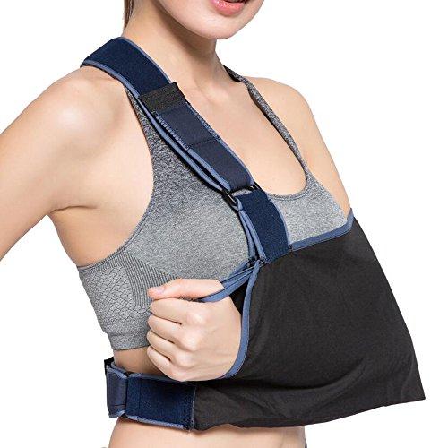 Velpeau Arm Sling Shoulder Immobilizer with Adjustable Split Strap Technology, Ergonomic Design, Maximum Comfort for Men Women & Kids (Shoulder width 12 1/2″-17 (Ergonomic Shoulder Strap)