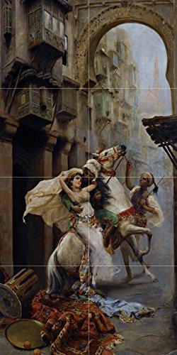 Tile Mural SWEPT OFF HER FEET by Fabio Fabbi horse girl woman men Kitchen Bathroom Shower Wall Backsplash Splashback 2x4 6'' Marble, Matte by FlekmanArt