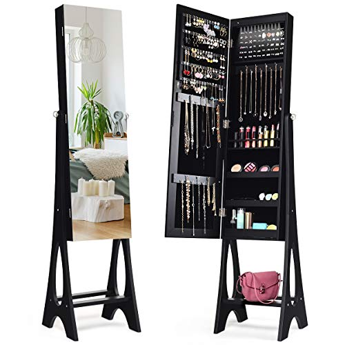 Giantex 12 LED Jewelry Armoire Cabinet with Frameless Full-Length Mirror