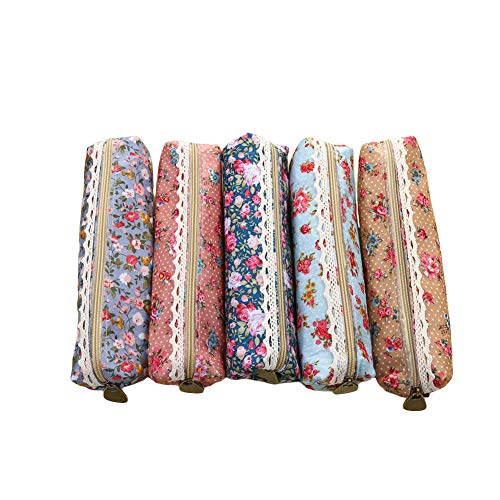 KWJOY Fashion Set of 5 Cute Sweety Assorted Flower Pattern Zipper Canvas Pen Pencil Case Stationery Pouch Bag Case Cosmetic Bags