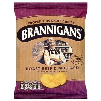 Brannigans Roast Beef & Mostaza Sabor patatas fritas 36 x 40 ...
