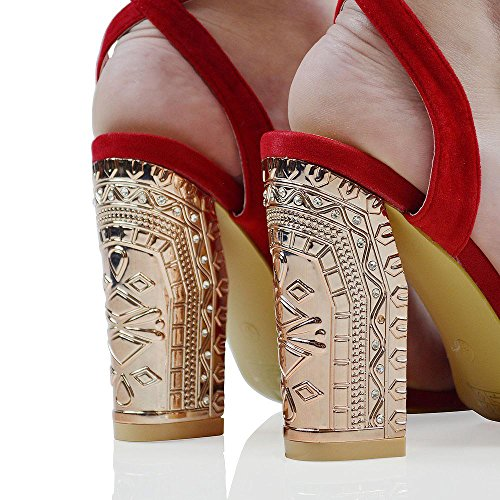 Faux Diamante Heel Chrome Lace Up Lace Glam Suede Up Red Womens Faux Sandals Block Essex Suede SqUxHI