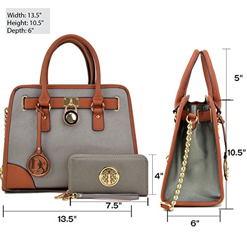 Dasein Women's Designer Padlock Belted Top Handle Satchel Handbag Purse Shoulder Bag With Matching Wallet (02-6892 Simple Color Pewter + Matching wallet) by Dasein (Image #4)
