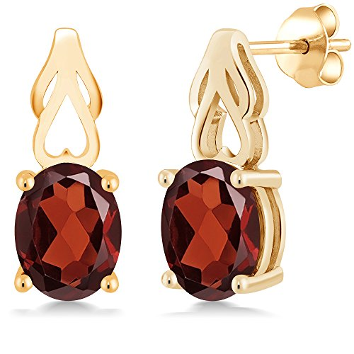 Gem Stone King 3.60 Ct Oval Red Garnet 18K Yellow Gold Plated Silver Earrings