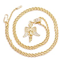 Men's Angel Gold Plated Iced Out Pendant Clear Stones Chain Necklace