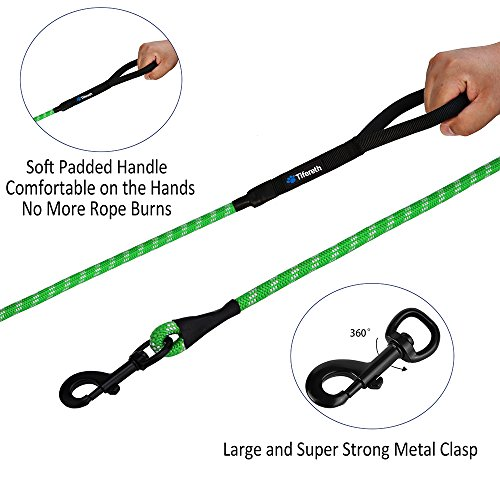 Image of Tifereth Dog Leashes for Medium and Large Dogs Mountain Climbing Rope Dog Leash 6 ft Long Supports The Strongest Pulling Large and Medium Sized Dogs(Free Dog Training Clicker) (6 Feet, Green)
