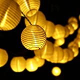 WONFAST® Outdoor Solar String Lights Outdoor 15.7ft 20 LED Lantern Ball Christmas Globle Lights for Garden Home, Patio, Lawn, Party and Holiday Decoration (Warm White)