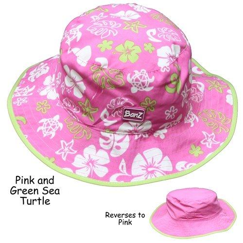 Baby Banz Baby Reversible Hats Pink/Pink Green Baby Sun Hats (Banz Green Hat)