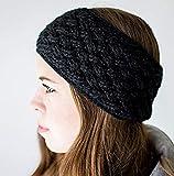 Surhilo Miraflores Alpaca Knit Head Warmer - Black - Winter Luxury Handmade Headband