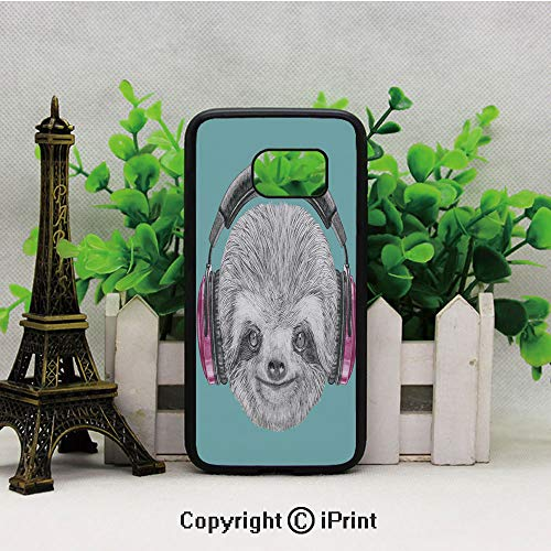 DJ Sloth Portrait with Headphones Funny Modern Character Cool Cute Smiling Decorative Samsung Galaxy S7 Case with Artistic Black Soft TPU and PC Protection Anti-Slippery Case for Samsung S7 Teal Grey