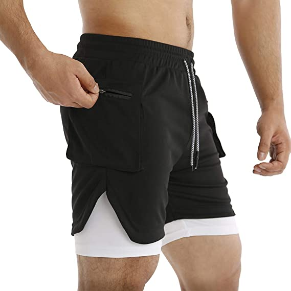 Boomlemon Men S 2 In 1 Running Shorts Gym Workout Quick Dry Inner Compression Short Pants With Zip Pocket Amazon Ca Clothing Accessories