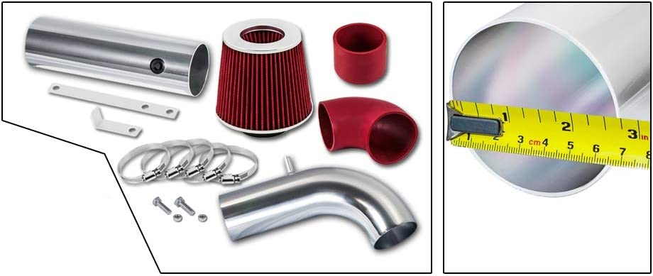 High Performance Parts Cold Air Intake Kit /& Red Filter Combo for 1997-2003 Chevy S-10 S10 2.2L