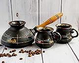 Ceramic coffee set, Turkish coffee set with Two turkish coffee cup, Women birthday gifts, Handmade hand-painted, Coffee gifts