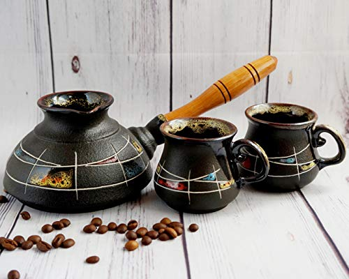 (Ceramic coffee set, Turkish coffee set with Two turkish coffee cup, Women birthday gifts, Handmade hand-painted, Coffee gifts )