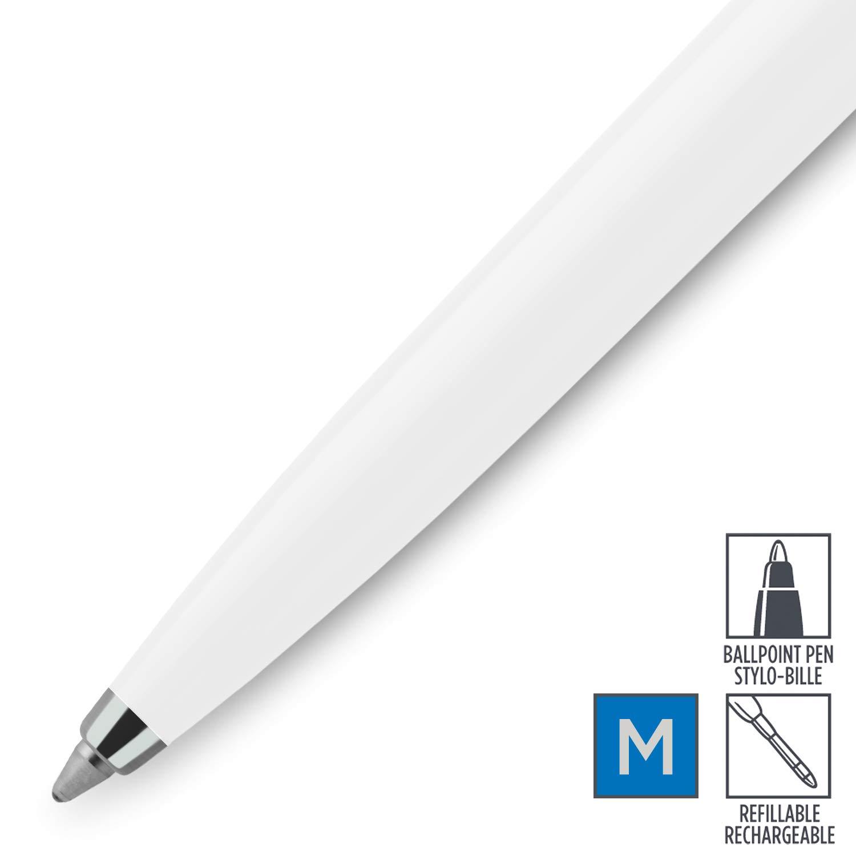 Parker Jotter Originals Colezione di Penne Stilografiche Confezione da 1 Finiture Bianco in Stile Classico Punta Media Inchiostro Blu e Nero