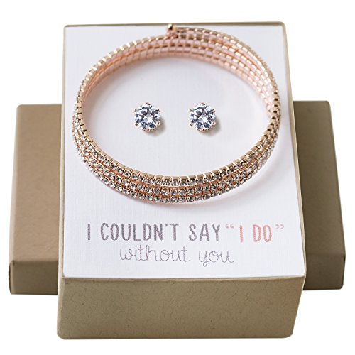 (AMY O Wedding Jewelry Set, Bridemaids Bracelet and Earring Set in Silver, Gold or Rose Gold )