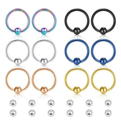 Incaton 16g Surgical Steel Captive Bead Rings Nose Hoop Lip Eyebrow Tongue Helix Tragus Cartilage Septum Piercing Ring w Replacement ()