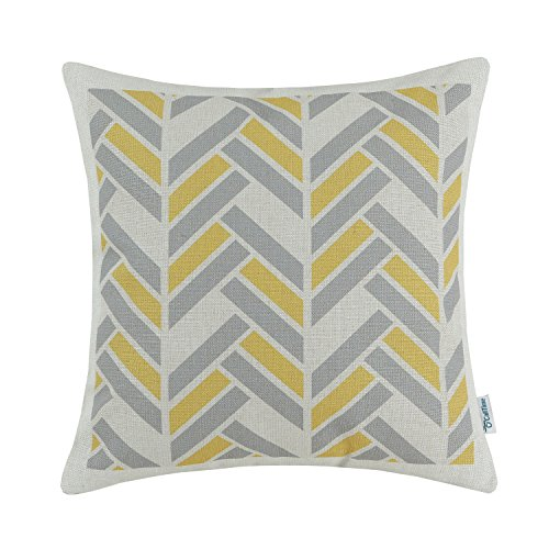 Yellow Striped Pillow - CaliTime Canvas Throw Pillow Cover Case for Couch Sofa Home Decoration Modern Striped Chevron Zigzag Geometric 18 X 18 Inches Grey Yellow