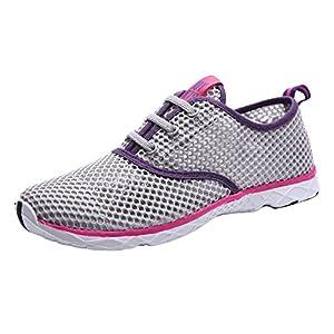 CAIHEE Women's Mesh Lightweight Quick-dry Aqua Slip On Water Shoes (7.5 B(M) US, Grey-purple)