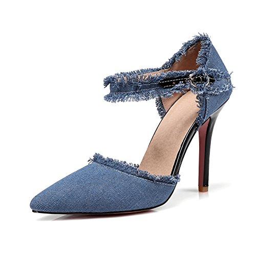 Paquete con Mujeres de Tacones Sandalias Altos Baotou de Número un La Gran Denim Punta el Zapatos y Mujer Verano shallow de blue Primavera los v8xTa