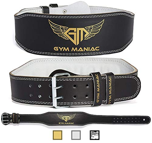 Gym Maniac GM Weight Lifting Waist Gym Belt | Adjustable Size, 2 Prong Buckle, Comfy Suede, Reinforced Stitching | Support Your Back & Alleviate Pains (Gold, Small)