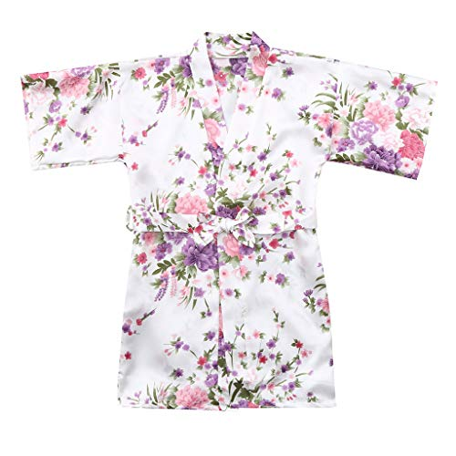 MOMKER Children Girls Silk Robes Satin Robe Short Floral Peacock Japan Kimono Stain Sleepwear White ()