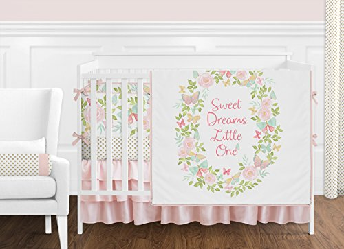 Pink, Mint and White Watercolor Butterfly Floral Polka Dot Baby Girl Crib Bedding Set with Bumper and Tiered Skirt by Sweet Jojo Designs - 9 pieces