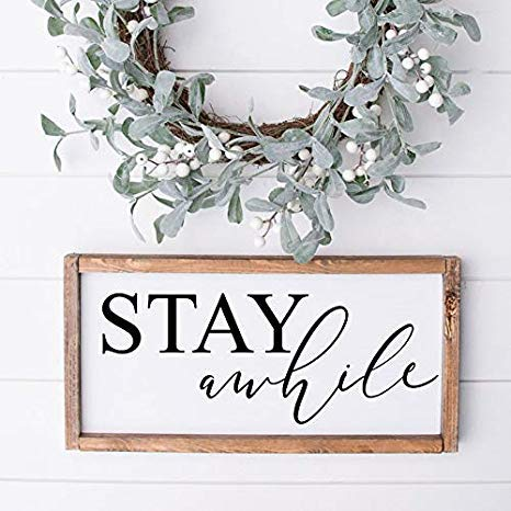 Wendore Framed Wood Sign, Stay Awhile Wood Sign Farmhouse Style Sign Framed Wood Sign Rustic Wood Sign Farmhouse Signs Family Wood Signs Entryway Sign-841507