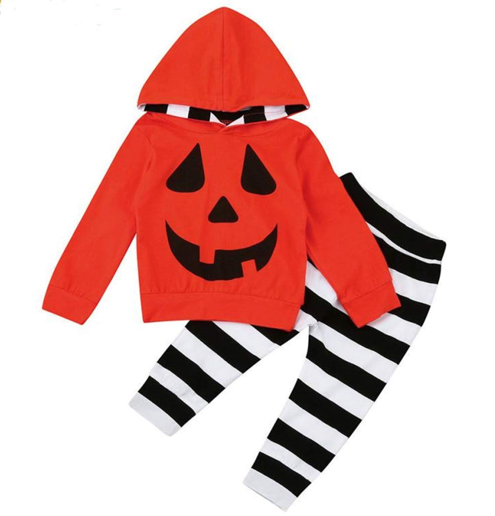 Baby Halloween Outfits Set Pumpkin Hoodie Tops Blouse +Striped Pants 2Pcs Clothes Set