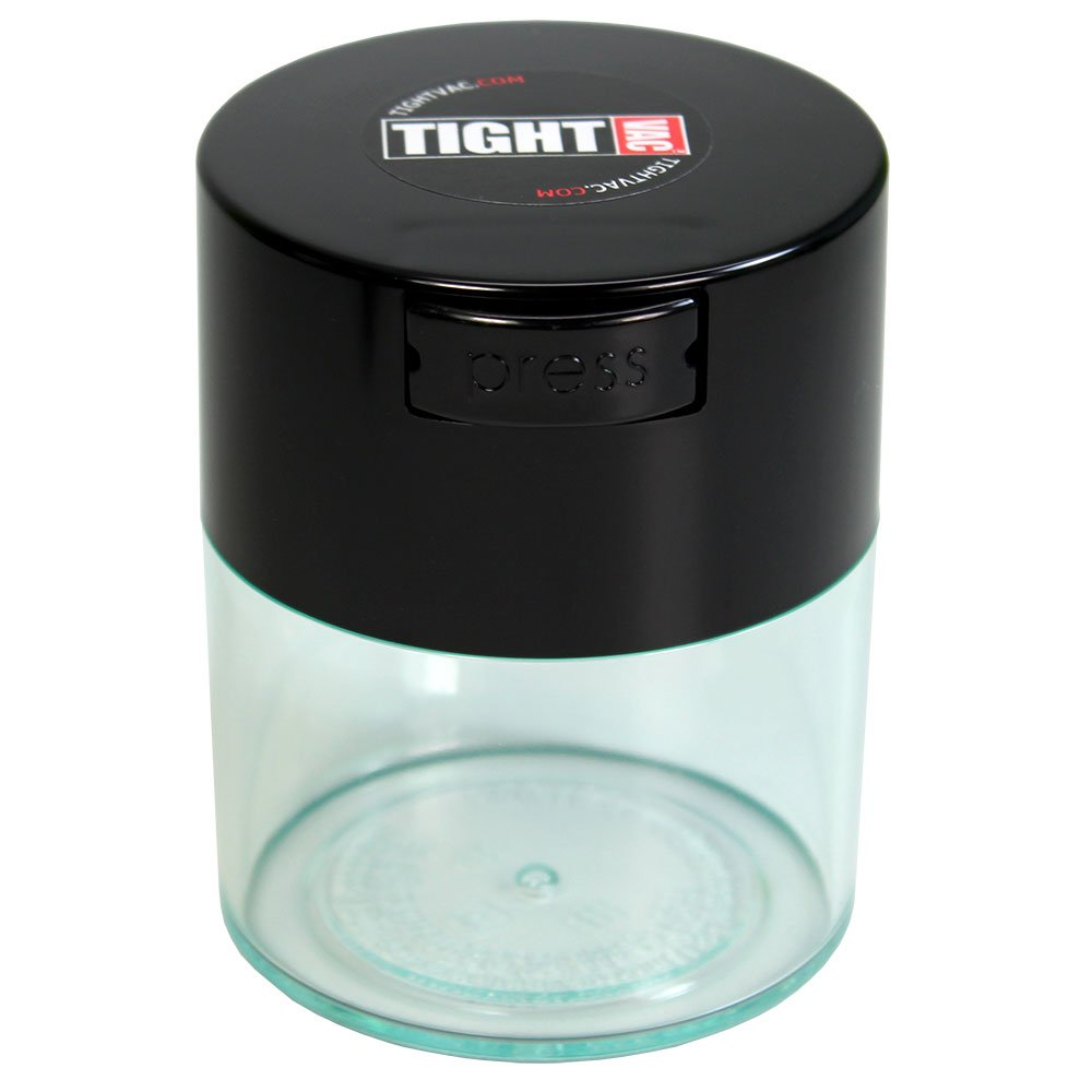 Tightvac - 1/2 oz to 3 ounce Airtight Multi-Use Vacuum Seal Portable Storage Container for Dry Goods, Food, and Herbs - Black Cap & Clear Body