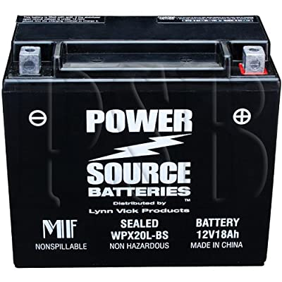 ETX20L, YTX20HL-BS, YTX20HL, YTX20L-BS, YTX20L, GYZ20HL, 4011496, PTX20L-BS, PTX20HL-BS, ES20LBS Replacement Battery 375cca High Performance WPX20L-BS Sealed AGM for Motorcycle, ATV, Jet Ski, Snowmobile, Side x Side, Honda, Yamaha, Kawasaki, Ski-Doo, Pure