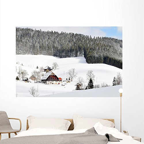 Wallmonkeys Snowy Black Forest Cottages Wall Mural Peel and Stick Graphic (72 in W x 48 in H) WM324133