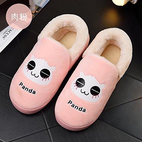 Y-Hui autunno e inverno le coppie Home uomini pantofole di cotone Sacco e fondo spesso antislittamento pantofole termica femmina, 46-47 [per 44-45 piedi indossare],(a).